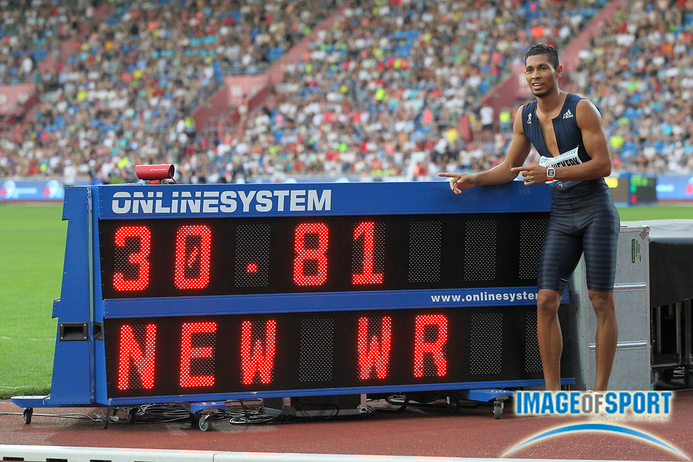 Wayde Van Niekerk (RSA) poses with scoreboard after winning the 300m in a world record 30.81 during the 56th Ostrava Golden Spike in an IAAF World Challenge meeting at Mestky Stadion in Ostrava, Czech Republic on Wednesday, June 28, 20017. (Jiro Mochizuki/Image of Sport)