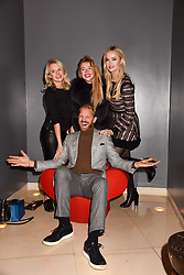 Alistair Guy with Karolina Karlsson, Julia Tressler and Charli Fisher at the Passavant and Lee New Collection Launch, St.Martin's Lane Hotel, London England. 19 February 2018.