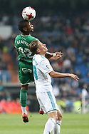 MADRID, SPAIN. January 24, 2018 - Claudio Beauvue heads the ball over Marcos Llorente. Real Madrid pushed right to the end but were ultimately unable to get the better of Leganés, who scored twice, once in either half, to knock the Whites out of the Copa del Rey. . Photos by Antonio Pozo | PHOTO MEDIA EXPRESS