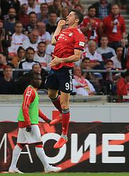 01.09.2018, VfB Stuttgart vs FC Bayern, Mercedes Benz Arena Stuttgart, Fussball, Sport, im Bild:....Robert Lewandowski (FCB) jubelt..DFL REGULATIONS PROHIBIT ANY USE OF PHOTOGRAPHS AS IMAGE SEQUENCES AND / OR QUASI VIDEO...Copyright: Philippe Ruiz..Handy: 0177 29 39 408. (Credit Image: © Philippe Ruiz/Xinhua via ZUMA Wire)