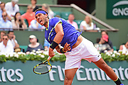 Rafael Nadal (ESP) serves during the preliminary rounds of the Roland Garros Tennis Open 2017 at Roland Garros Stadium, Paris, France on 2 June 2017. Photo by Jon Bromley.