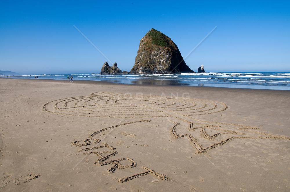 Giant sand art on the coast of Oregon