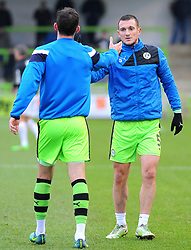 Lee Collins of Forest Green Rovers praises Christian Doidge of Forest Green Rovers- Mandatory by-line: Nizaam Jones/JMP- 06/01/2018 - FOOTBALL - New Lawn Stadium- Nailsworth, England- Forest Green Rovers v Port Vale - Sky Bet League Two