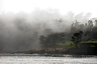Fog briefly obscured the eighteenth hole during the final round of the 2015 AT & T National Pro-Am at Pebble Beach on Sunday.