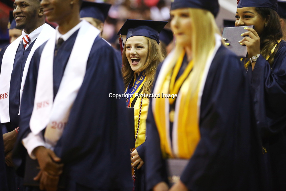 Baldwyn High School senior and co-salutatorian Kody Hollin smiles moments before she and her classmates are pronounced graduates during Friday night's graduation ceremony at the school.