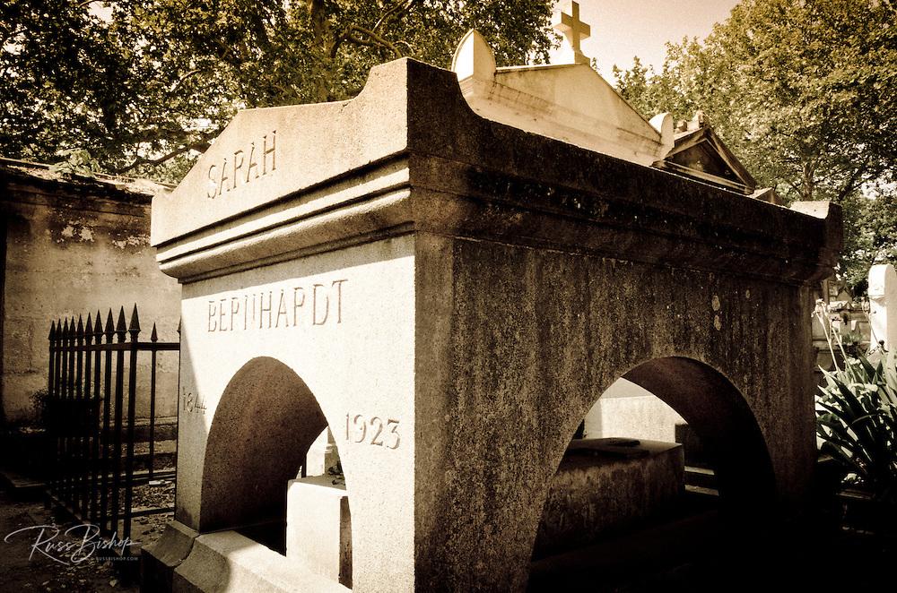 Sarah Berhnhardt's grave at Père Lachaise Cemetery, Paris, France