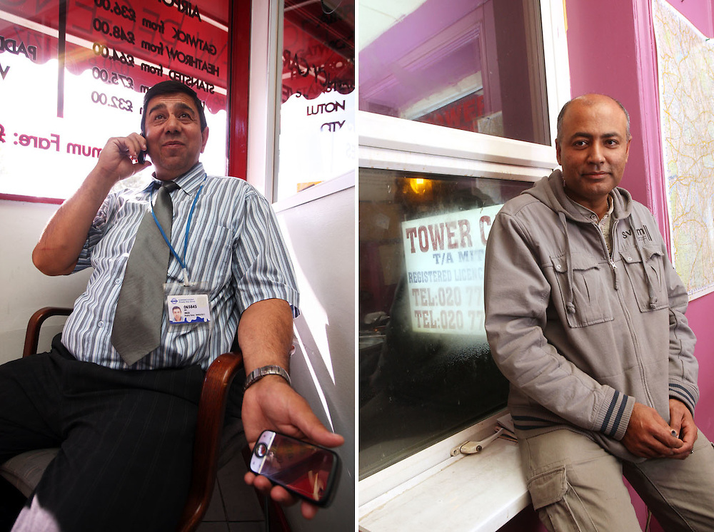A cab driver (left) waiting for a job in the office with his PDA in one hand and mobile phone in the other.<br /> Right: a Controller waiting for the office phone to ring at Tower Cars.