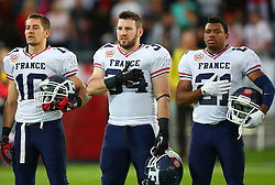 04.06.2014, UPC Arena, Graz, AUT, American Football Europameisterschaft 2014, Gruppe B, Frankreich (FRA) vs Oesterreich (AUT), im Bild Kevin  Yuan , (Team France, DB , #10),  Brice  Rontet , (Team France, RB , #34) und  Yann  Dika Balotoken , (Team France, DB , #21) // during the American Football European Championship 2014 group B game between France vs Austria at the UPC Arena, Graz, Austria on 2014/06/04. EXPA Pictures © 2014, PhotoCredit: EXPA/ Thomas Haumer