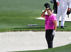 April 8, 2018 - Augusta, GA, USA - Patrick Reed prepares to hit from the fairway bunker on eight during the final round of the Masters at Augusta National Golf Club on Sunday, April 8, 2018, in Augusta, Ga. (Credit Image: © Curtis Compton/TNS via ZUMA Wire)