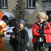 The third and last day of the Strike WEF march on Davos, 21st of January 2020, Switzerland. The rally in Davos organised by local groups against the WEF. The marchers were still in the mountains.  The march is a three day protest against the World Economic Forum meeting in Davos. The activists want climate justice and think that The WEF is for the world's richest and political elite only.