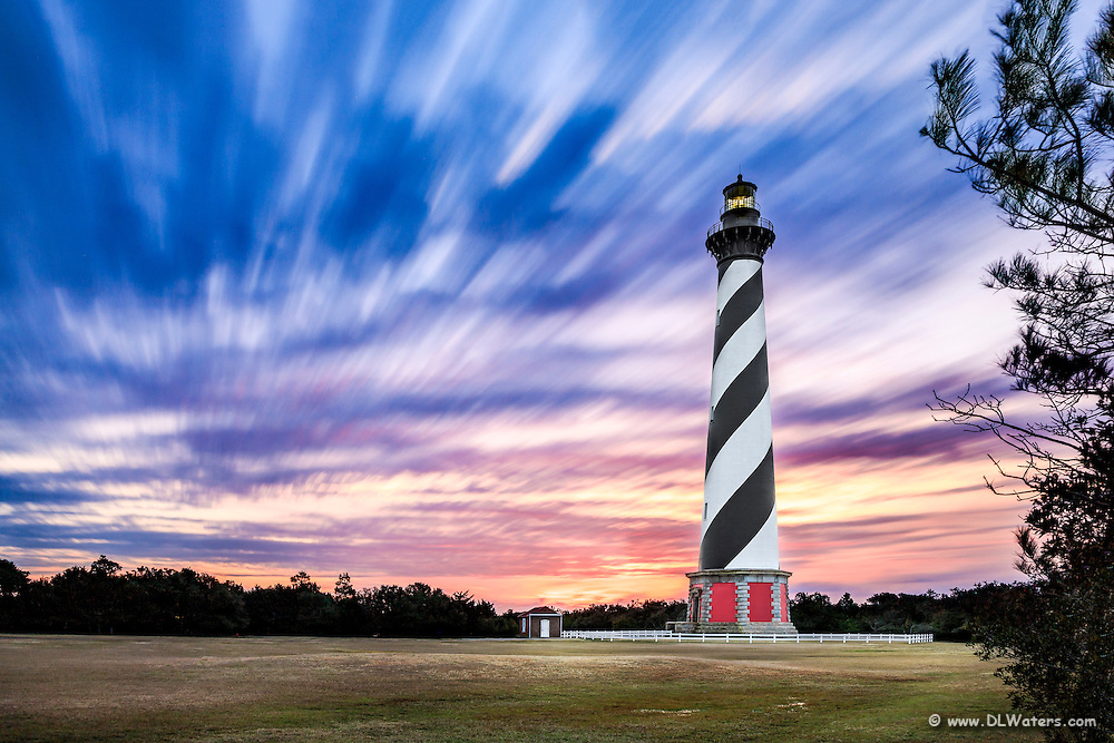 A long exposure of clouds and Cape Hatteras Lighthouse on the Outer Banks of NC.