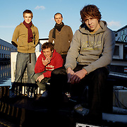 UK. London. Pop band Mcfly photographed near to the canal in Hackney.