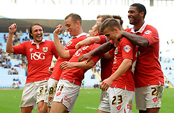 Bristol City's Scott Wagstaff celebrates his goal with team mates   - Photo mandatory by-line: Joe Meredith/JMP - Mobile: 07966 386802 - 18/10/2014 - SPORT - Football - Coventry - Ricoh Arena - Bristol City v Coventry City - Sky Bet League One