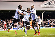 2nd goal for Fulham celebrate Fulham forward Gohi Bi Cyriac (9), Fulham defender Ryan Sessegnon (30) during the EFL Sky Bet Championship match between Fulham and Blackburn Rovers at Craven Cottage, London, England on 14 March 2017. Photo by Sebastian Frej.