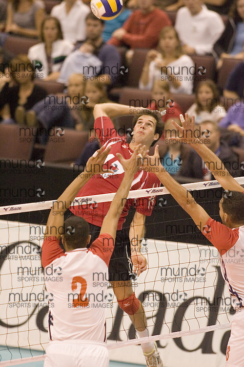 Nicholas Cundy of  Canada Two during a three games to none defeat by Tunisia in the 2006 Anton Furlani Volleyball Cup, held in Ottawa, Canada. .Anton Furlani Cup.Copyright Sean Burges / Mundo Sport Images, 2006