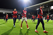 Middlesbrough players warming up ahead of the EFL Sky Bet Championship match between Fulham and Middlesbrough at Craven Cottage, London, England on 17 January 2020.