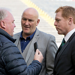 Brian McLauchlineof the BBC chats with Neil Lennon (Hibernian Manager) and Jim Duffy (Morton FC Manager)  ahead of the Ladbrokes Championship match between Greenock Morton &amp; Hibernian at Cappielow Stadium on 8 April 2017<br /> <br /> Picture: Alan Rennie