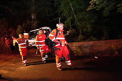© licensed to London News Pictures  16/09/2011 .  Pontardawe,UK. Activity Contiues through the night as an operation is underway to rescue four miners trapped in a mine in the Swansea Valley. Photo credit :Aled Llywelyn/LNP