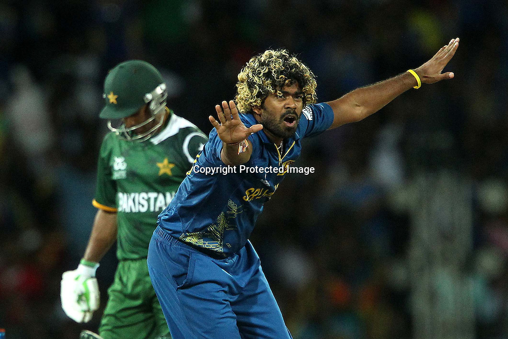 Lasith Malinga appeals for the wicket of Imran Nasir during the ICC World Twenty20 semi final match between Sri Lanka and Pakistan held at the Premadasa Stadium in Colombo, Sri Lanka on the 4th October 2012<br /> <br /> Photo by Ron Gaunt/SPORTZPICS