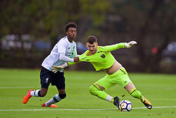 LONDON, ENGLAND - Saturday, November 4, 2017: West Ham United's goalkeeper Bobbie Biddle clashes with Liverpool's Abdi Sharif during the Under-18 Premier League Cup Group D match between West Ham United FC and Liverpool FC at Little Heath. (Pic by David Rawcliffe/Propaganda)