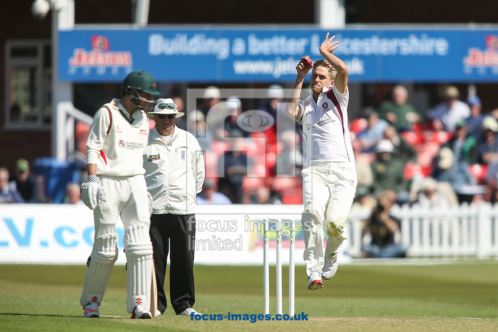 Olly Stone of Northamptonshire County Cricket Club (right) in delivery stride during the LV County Championship Div Two match at Grace Road, Leicester<br /> Picture by Andy Kearns/Focus Images Ltd 0781 864 4264<br /> 27/04/2015