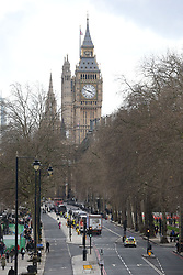 The view along Victoria Embankment towards parliament, after a policeman has been stabbed and his apparent attacker shot by officers in a major security incident at the Houses of Parliament.
