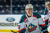 KELOWNA, CANADA - DECEMBER 29: Kyle Crosbie #25 of the Kelowna Rockets warms up against the Kamloops Blazers  on December 29, 2018 at Prospera Place in Kelowna, British Columbia, Canada.  (Photo by Marissa Baecker/Shoot the Breeze)