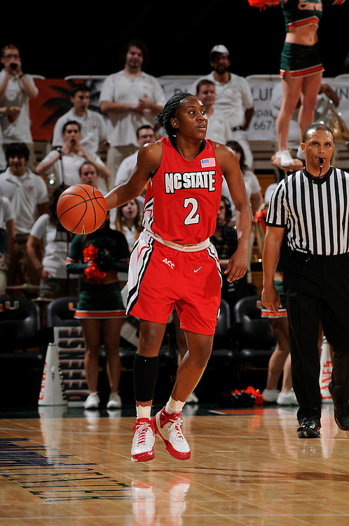 January 22, 2009: Nikitta Gartrell of the North Carolina State Wolfpack in action during the NCAA basketball game between the Miami Hurricanes and the North Carolina State Wolfpack. The 'Canes defeated the Wolfpack 72-60.