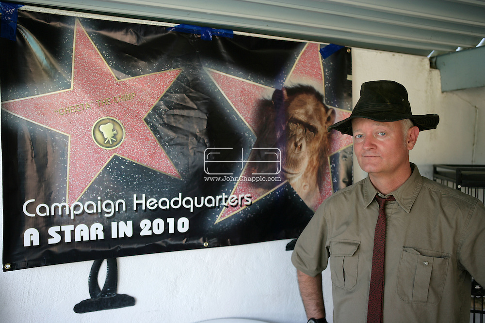 EXCLUSIVE 24th June 2008, Palm Springs, California.  Filmmaker and campaign manager Matthew Devlen, of the &quot;Go Cheeta&quot; campaign, who are trying to get Cheeta the 76-year-old Chimp a star on the Hollywood Walk of Fame. Cheeta was the star of many Hollywood Tarzan films of the 1930s and 1940s,  PHOTO &copy; JOHN CHAPPLE / www.johnchapple.com<br /> tel: +1-310-570-9100