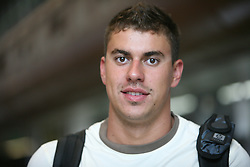 Swimmer Damir Dugonjic  of Slovenian Olympic Team at departure to Beijing 2008 Olympic games, on July 31, 2008, at Airport Jozeta Pucnika, Brnik, Slovenia. (Photo by Vid Ponikvar / Sportal Images)/ Sportida)