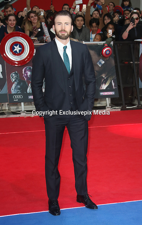 April 26, 2016 -Chris Evans attending 'Captain America: Civil War' European Film Premiere at Vue Westfield in London, UK.<br /> ©Exclusivepix Media