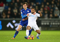 Ben Chilwell of Leicester City battles for the ball with Wayne Routledge of Swansea City - Mandatory by-line: Alex James/JMP - 12/02/2017 - FOOTBALL - Liberty Stadium - Swansea, England - Swansea City v Leicester City - Premier League