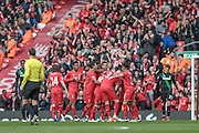 Liverpool players celebrate scoring the opening goal, 1-0 during the Barclays Premier League match between Liverpool and Stoke City at Anfield, Liverpool, England on 10 April 2016. Photo by Mark P Doherty.