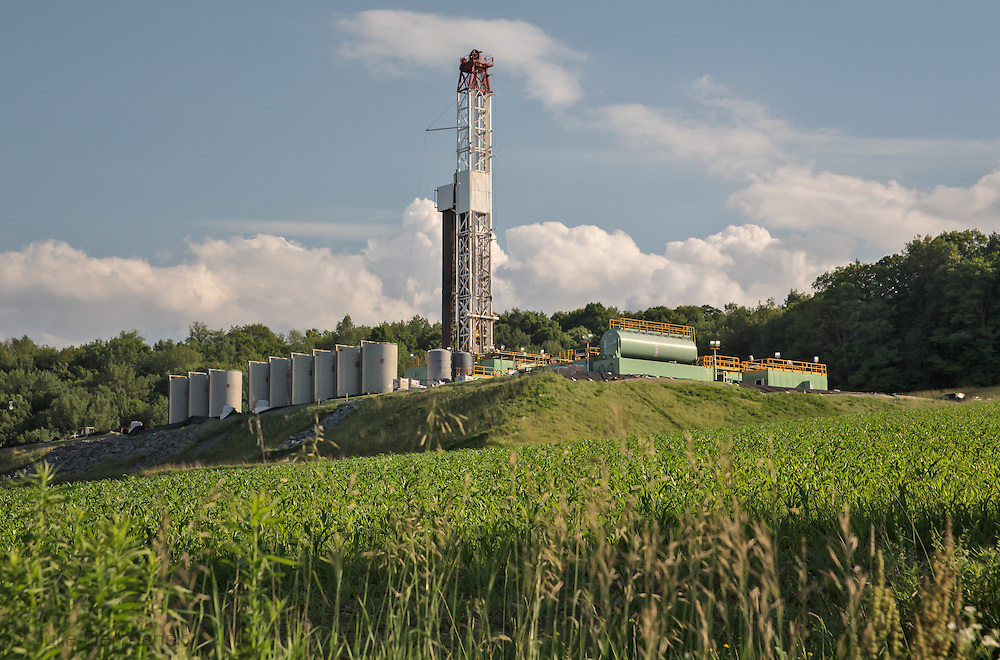 June, 26, 2015, Driling rig at a fracking industry site in Susquehanna County, PA.