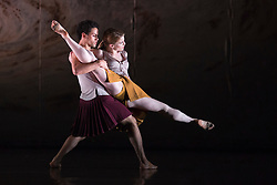 """© Licensed to London News Pictures. 18/11/2014. London, England. Dane Hurst and Hannah Rudd performing Terra Incognita choreographed by Shobana Jeyasingh. British dance company """"Rambert"""" perform their new show """"Triptych"""" at Sadler's Wells Theatre from 18 to 22 November 2014. Choreographed by Shobana Jeyasingh with Luke Ahmet, Lucy Balfour, Adam Blyde, Carolyn Bolton, Simone Damberg Würtz, Dane Hurt, Vanessa King, Adam Park, Hannah Rudd and Pierre Tappon dancing. Photo credit: Bettina Strenske/LNP"""