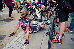 The end of a hard day at Aviva Women's Tour 2016 - Stage 5. A 113.2 km road race from Northampton to Kettering, UK on June 19th 2016.