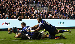 Exeter Chiefs' Jack Nowell scores match winning try against Bath Rugby's during the Gallagher Premiership match at the Recreation Ground, Bath.