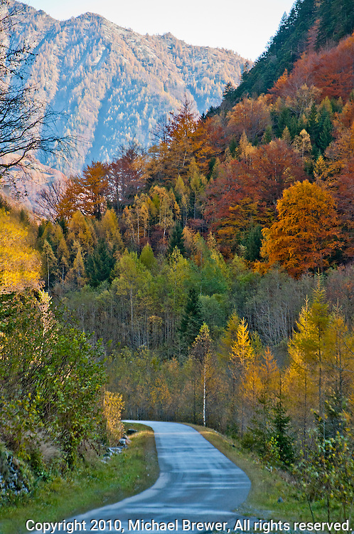 Autumn mountain road in Valle Onsernone, Ticino, Southern Switzerland.