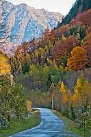 Autumn mountain road in Valle Onsernone, Ticino, Southern Switzerland.