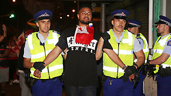 South Auckland Police made multiple arrests during the hour's of celebrations as thousands of Tongan supporters gathered on Atkinson Avenue, Otahuhu following their teams 32-18 win over Samoa.in the Rugby League World Cup earlier in Hamilton, Auckland, New Zealand, Sundsy November 05, 2017. Credit:SNPA / Hayden Woodward**NO ARCHIVING**