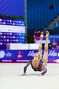 Ashram Linoy from Israel during the final at ball in Pesaro World Cup 15 April, 2018. She is known for her and very high jumps. Her targhet is to win Israel's first Olympic rhythmic gymnastics medal at the 2020 Olympic Games in Tokyo.