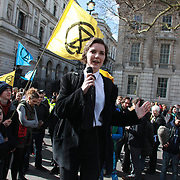 The protest group Extinction Rebellion stage a protest of fake blood in front of Downing Street ten, 9th March 2019, Central London, United Kingdom.