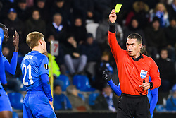 December 13, 2018 - Genk, BELGIUM - 181213 Jere Uronen of Genk receives a yellow card from referee Istvan Kovacs during the Europa League group stage match between Genk and Sarpsborg 08 on December 13, 2018 in Genk. .Photo: Fredrik Varfjell / BILDBYRN / kod FV / 150187. (Credit Image: © Fredrik Varfjell/Bildbyran via ZUMA Press)