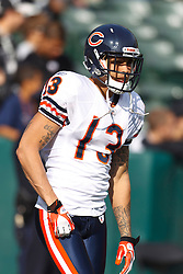 Nov 27, 2011; Oakland, CA, USA; Chicago Bears wide receiver Johnny Knox (13) warms up before the game against the Oakland Raiders at O.co Coliseum. Oakland defeated Chicago 25-20. Mandatory Credit: Jason O. Watson-US PRESSWIRE
