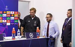 NAPLES, ITALY - Monday, September 16, 2019: Liverpool's manager Jürgen Klopp and press officer Matt McCann arrive for a press conference at the Stadio San Paolo ahead of the UEFA Champions League Group E match between SSC Napoli and Liverpool FC. (Pic by David Rawcliffe/Propaganda)