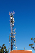 Urban provincial  cellular, microwave and telecom communications systems lattice tower in Port Macquaire, New South Wales, Australia.