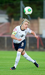 LLANELLI, WALES - Monday, August 19, 2013: England's Sherry McCue in action against France during the Group A match of the UEFA Women's Under-19 Championship Wales 2013 tournament at Stebonheath Park. (Pic by David Rawcliffe/Propaganda)