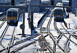 © Licensed to London News Pictures.28/02/2018<br /> Orpington, UK.<br /> A hand full of trains leaving Orpington Train Station in Kent for London as the snow causes travel chaos on the rails.<br /> More heavy snow overnight as the winter weather continues in Orpington, Kent.<br /> Photo credit: Grant Falvey/LNP