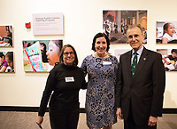 Salinas Center for Arts and Culture Interim Director Enid Ryce, center with CSUMB's Ilene Feinman and President Eduardo Ochoa at the December 5th, 2017 opening of the Stories from Salinas exhibition at the  in Oldtown. The exhibition celebrates the mentors, youth and families of the Salinas Youth Initiative.