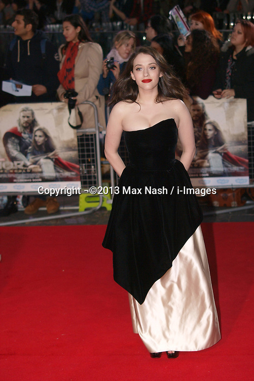 Kat Dennings arriving for the premiere of Thor: The Dark World, in London, Tuesday, 22nd October 2013. Picture by Max Nash / i-Images